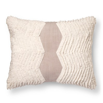 "Fringe Oblong Decorative Pillow (18""x18"") Gray - Nate Berkus™"