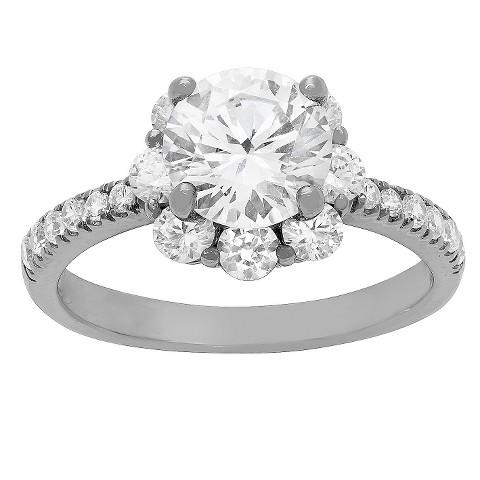 tiara 10k white gold cz flower ring target