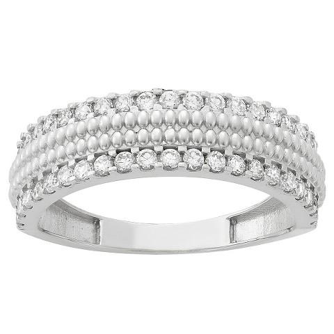 tiara 10k white gold 2 row cz band ring target