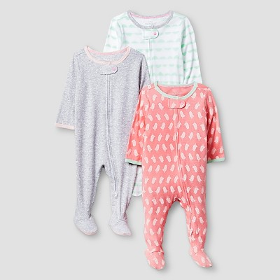 Baby Girls' 3 Pack Sleep N' Play Baby Cat & Jack™ - Coral/Heather Grey 3-6M