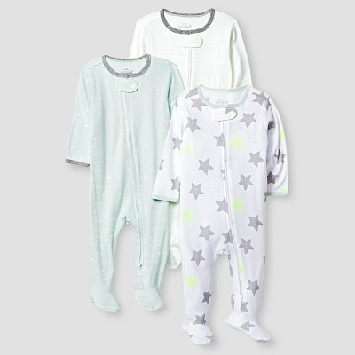 Baby 3 Pack Sleep N' Play Baby Cat & Jack™ - Mint/White NB