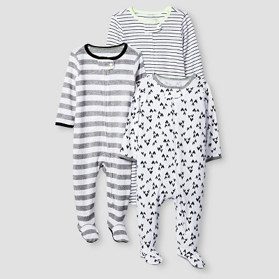 Baby 3 Pack Sleep N' Play Baby Cat & Jack™ - Heather Grey/Ebony 3-6M