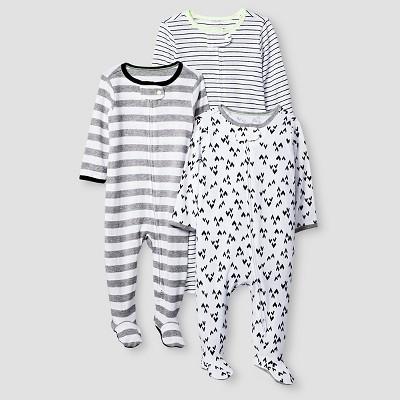 Baby 3 Pack Sleep N' Play Baby Cat & Jack™ - Heather Grey/Ebony 3-6M