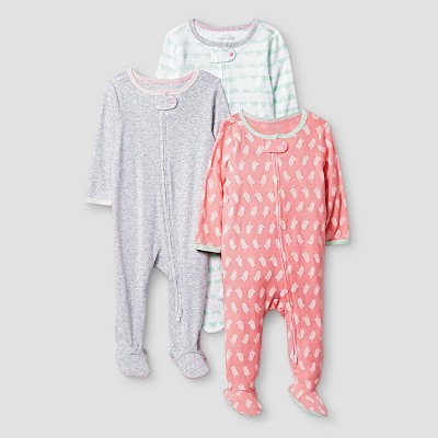 Baby Girls' 3 Pack Sleep N' Play Baby Cat & Jack? - Coral/Heather Grey 6-9 M