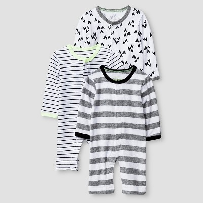 Preemie 3 Pack Sleep N' Play Set Baby Cat & Jack™ - Heather Grey/Ebony
