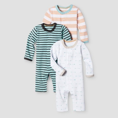 Baby Boys' 3 Pack Footed Sleepers Baby Cat & Jack™ - Turquoise/White/Orange Preemie