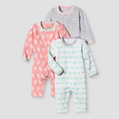 Baby Girls' 3 Pack Sleep N' Play Baby Cat & Jack™ - Coral/Heather Grey Preemie