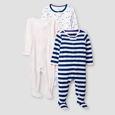 Baby Girls' 3 Pack Sleep N' Play Baby Cat & Jack™ - Pink/Navy 0-3M