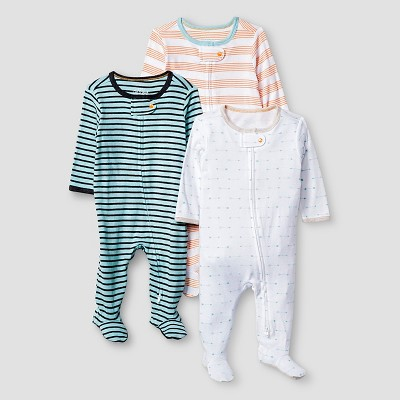 Baby Boys' 3 Pack Footed Sleepers Baby Cat & Jack™ - Turquoise/White/Orange NB
