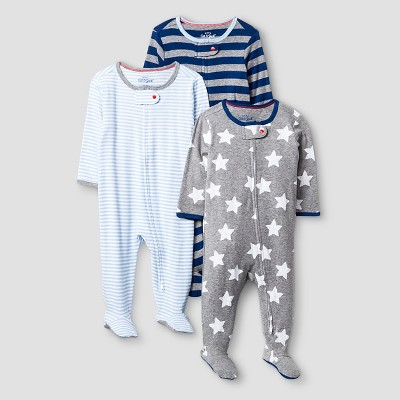 Baby Boys' 3 Pack Sleep N' Play Baby Cat & Jack™ - Navy/Heather Grey 3-6M