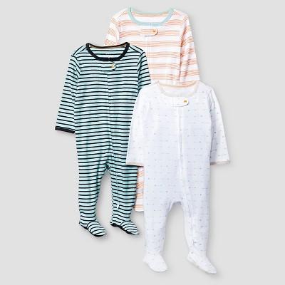 Preemie Boys' 3 Pack Sleep N' Play Set Baby Cat & Jack™ - Turquoise/White