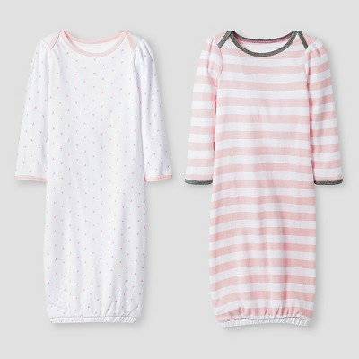 Baby Girls' 2 Pack Gown Set Baby Cat & Jack™ - Pink/White 0-6M