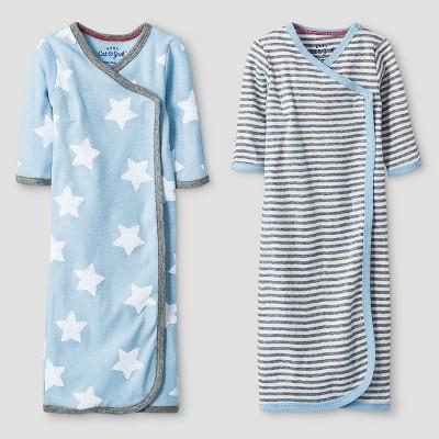 Baby Boys' 2 Pack Gown Set Baby Cat & Jack™ - Blue/Heather Grey Preemie