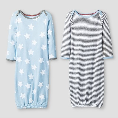 Baby Boys' 2 Pack Stripe/Star Gown Set Baby Cat & Jack™ - Blue/Heather Grey 0-6M