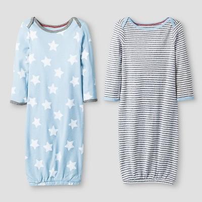 Baby Boys' 2 Pack Stripe/Star Gown Set Baby Cat & Jack™ - Blue/Heather Grey 0-6M
