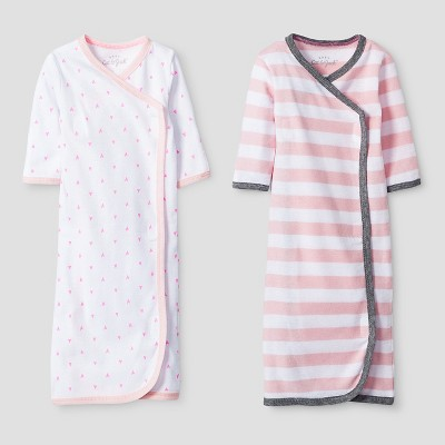 Baby Girls' 2 Pack Gown Set Baby Cat & Jack™ - Pink/White Preemie