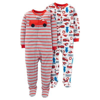 Just One You™Made by Carter's® Boys' 2 Pack Stripe Firetrue Blanket Fleece Footed Sleepers 9M