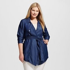 Women's Plus Size Tencel Cropped Trench - Forever Audrey