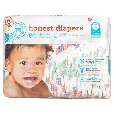 Honest Company  Diapers Multi Colored Giraffes - Size 4  (29 Count)