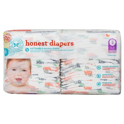 Honest Company  Diapers Multi Colored Giraffes - Size 2  (40 Count)