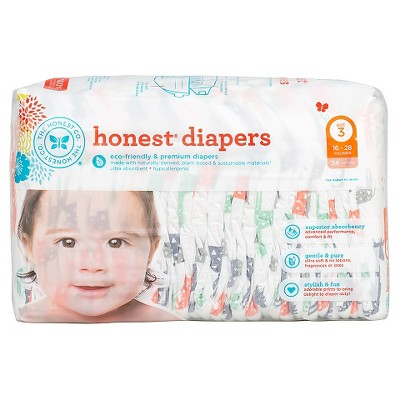 Honest Company  Diapers Multi Colored Giraffes - Size 3  (34 Count)
