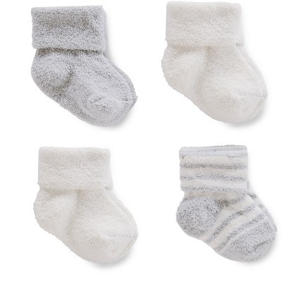Just One You™Made by Carter's® Baby Boys' 4 Pack Chenille Socks - Grey/White 3-12M