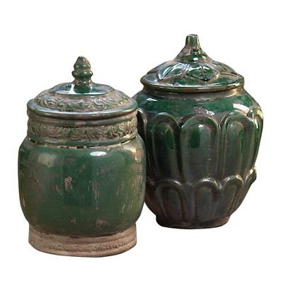 Zodax™ Tuileries Terracotta Lidded Jar (only jar on the right is included)