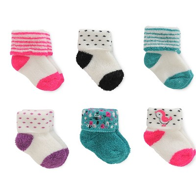 Just One You™Made by Carter's® Baby Girls' 6 Pack Reverse Terry Cuff Socks
