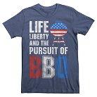 Men's Life Liberty and BBQ T-Shirt Navy S