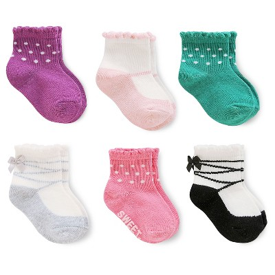 Just One You™Made by Carter's® Baby Girls' 6 Pack Pink Scalloped Computer Socks 0-3M