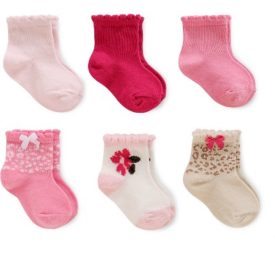 Just One You™Made by Carter's®  Baby Girls' 6 Pack Computer Socks - Pink/White/Gold 3-12M