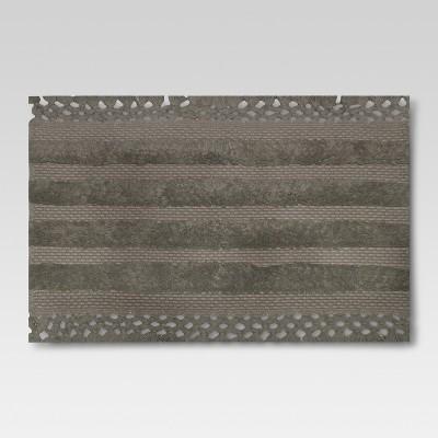 Stripe with Tassel Bath Rug - Grey Stone - Threshold™