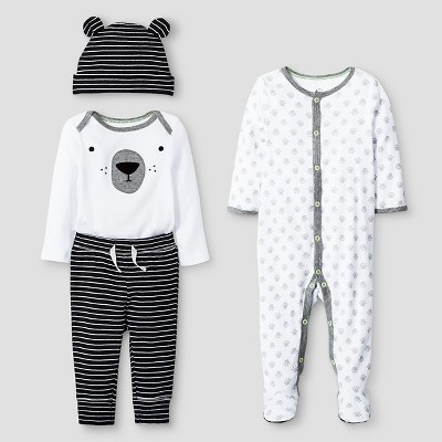 Baby 4 Piece Bear Set Baby Cat & Jack™ - Ebony/White 0-3M