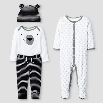 Baby 4 Piece Bear Set Baby Cat & Jack™ - Ebony/White 0-3M