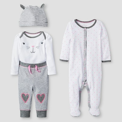 Baby Girls' 4 Piece Bunny Set Baby Cat & Jack™ - Pink/Heather Grey NB