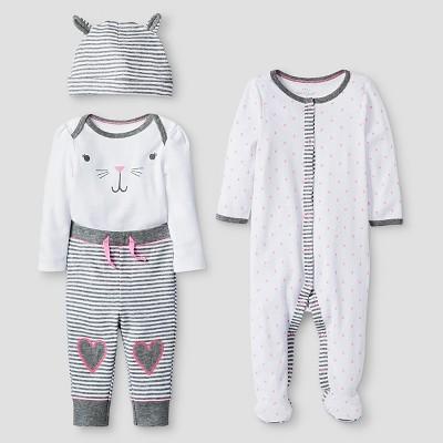 Baby Girls' 4 Piece Bunny Set Baby Cat & Jack™ - Pink/Heather Grey NB