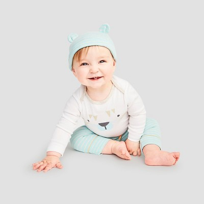 Baby Boys' 4 Piece Tiger Set Baby Cat & Jack™ - Turquoise/White 6-9M