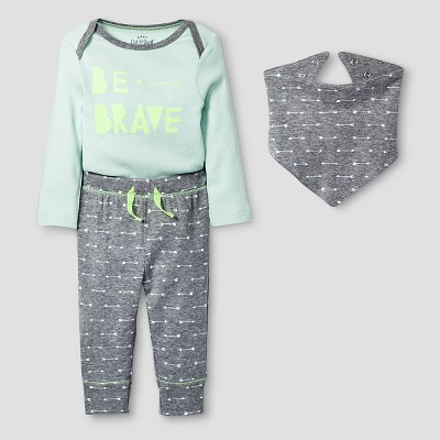 Baby 3 Piece Brave Set Baby Cat & Jack™ - Mint/Heather Grey 0-3M