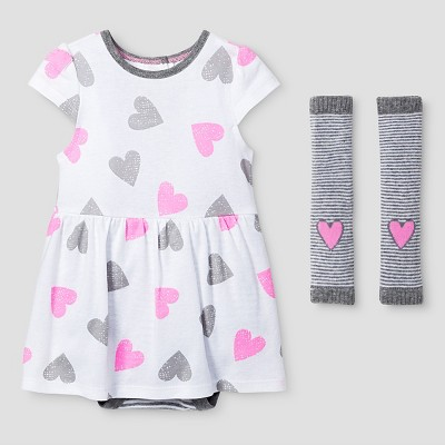 Baby Girls' Dress and Legwarmer Set Baby Cat & Jack™ - Pink/Heather Grey 0-3M
