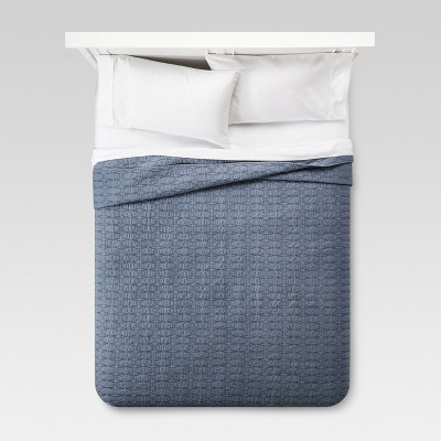 Relaxed Wash Diamond Stitch Quilt Full/Queen Blue - Threshold™