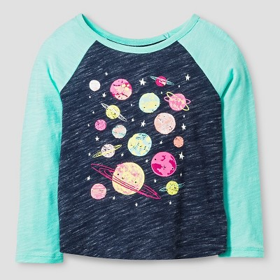 Baby Girls' Planets Long Sleeve Graphic T-Shirt Nightfall Blue 12M - Cat & Jack™