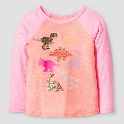 Baby Girls' Dinos Long Sleeve Graphic T-Shirt Moxie Peach 18M - Cat & Jack™