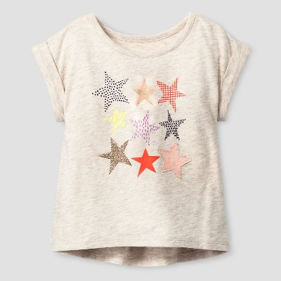 Baby Girls' Stars Graphic T-Shirt Oatmeal Heather 12M - Cat & Jack™