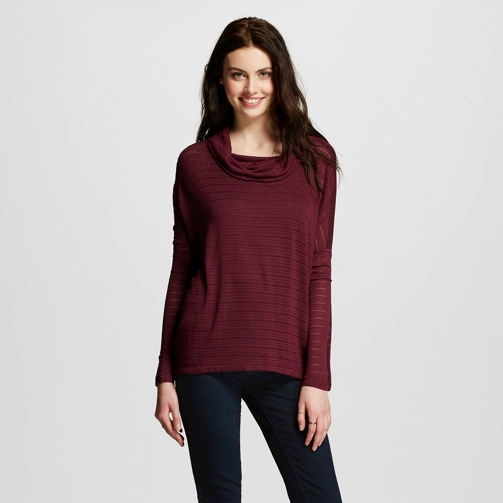 Women's Cowl Neck Sharkbite Long Sleeve Fig S - Miss Chievous (Juniors'), Size: Small, Red