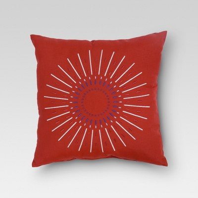 "Firework Embroidered Outdoor Pillow 18"" - Red - Threshold™"