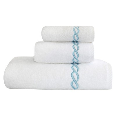 Linum Home Textiles Cadena Embroidered Soft Twist 3-Piece Towel Set - White/Sky Blue