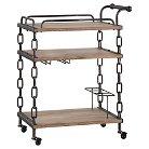 Balcetta Chain Bar Cart Metal/Light Oak - Inspire Q