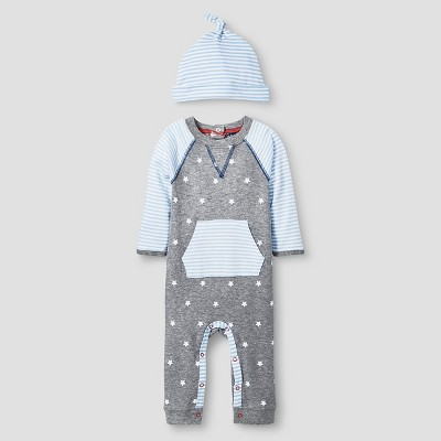 Baby Boys' 2 Piece Star Coverall Set Baby Cat & Jack™ - Blue/Heather Grey NB