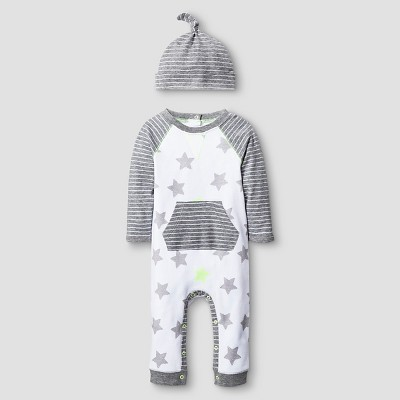 Baby 2 Piece Star Coverall Set Baby Cat & Jack™ - Heather Grey/White 6-9M