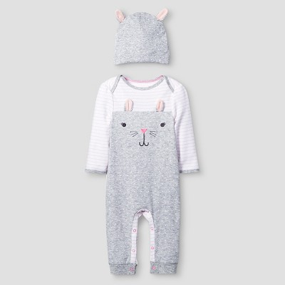 Baby Girls' 2 Piece Bunny Coverall Set Baby Cat & Jack™ - Pink/Heather Grey NB